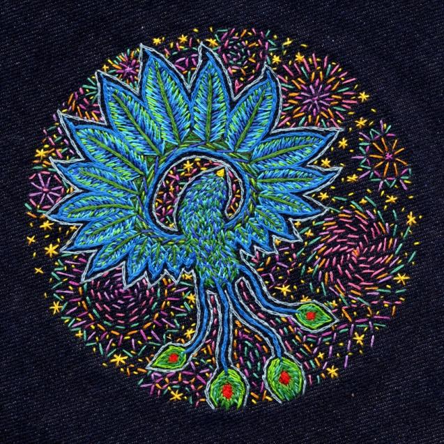 Free Flight; Embroidery on dark blue bull denim; 130mm diametre200mm diametre