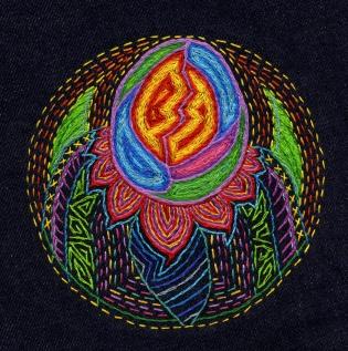 Egg; Embroidery on dark blue bull denim; 130mm diametre