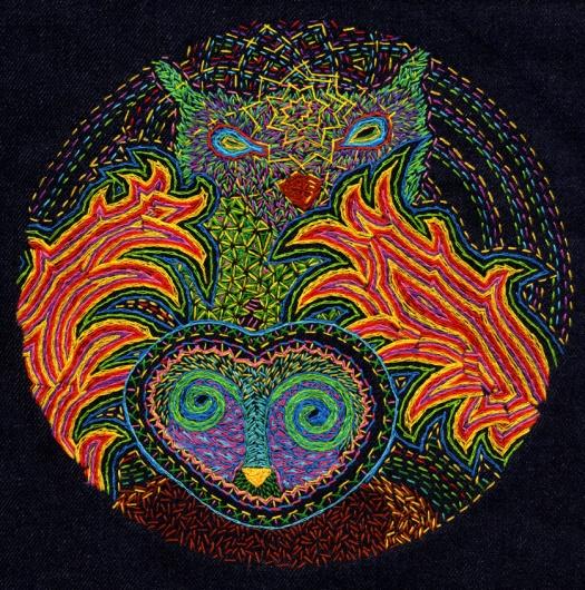 Twin Perspectives; Embroidery on dark blue bull denim; 200mm diametre