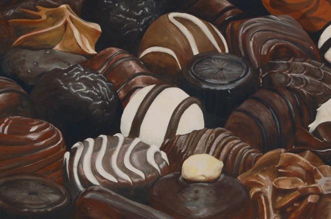 Chocolates, Gouache on Gesso paper