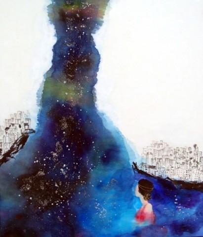 Milky way bulehole /53.0x45.5cm/ 순지에 혼합재료/2014 [출처] Milky way bulehole|작성자 미스안An Hyun Jung
