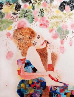 Amor Fati in my life 순지에 수묵담채, 콜라주 116.8×91.0cm 2016 [출처] Amor Fati in my life and superstition|작성자 미스안An Hyun Jung