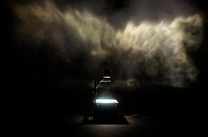 Void: Utopia Installation of Overhead Projector on Smoke 2011