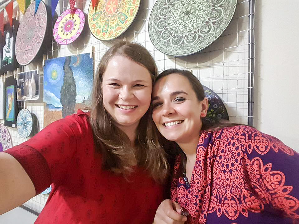My sister and I at the opening of my Art School.